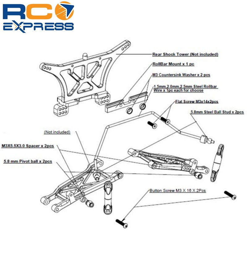 Details about Hot Racing Traxxas Slash 2wd Front and Rear Wide Anti Roll  Bar Sway Bar TE311SLC