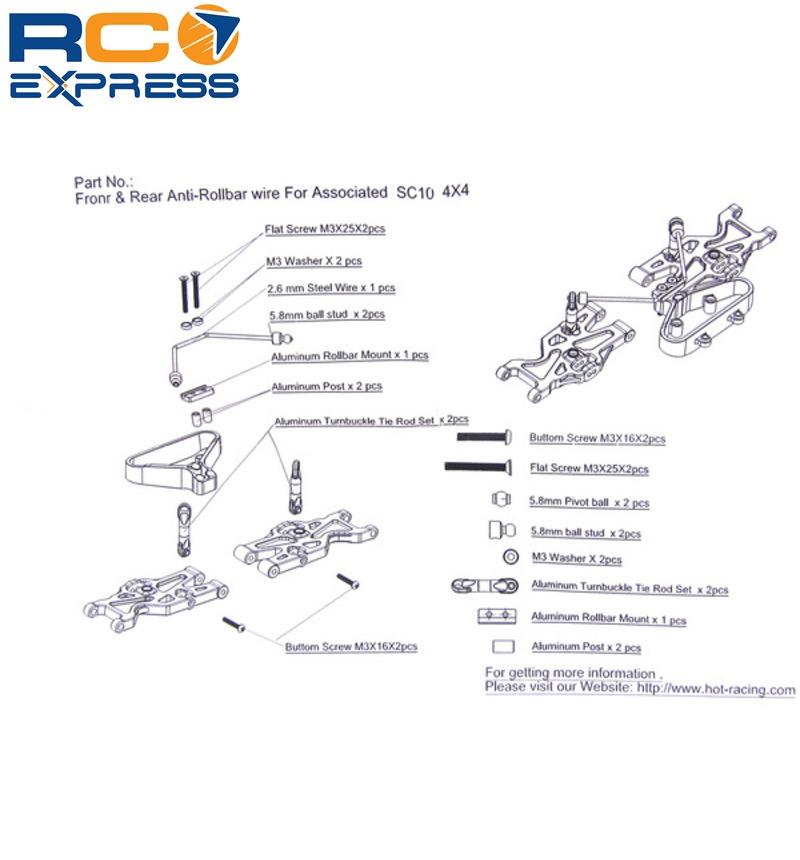 hot racing associated sc10 4x4 aluminum front rear anti roll sway rh ebay com